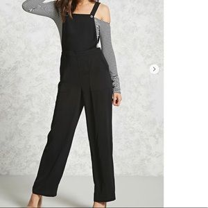 Woven wide-leg overalls
